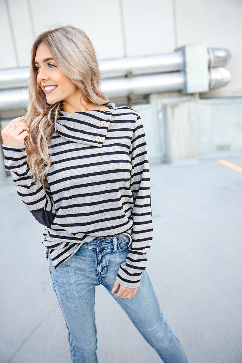 Just For Tonight Black and Oatmeal Striped Top With Elbow Patches