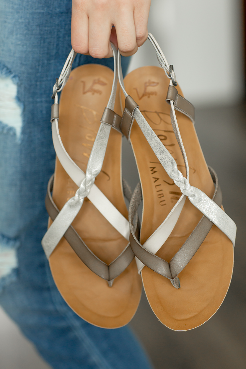 Blowfish Style and Comfort Sandals in Silver and Taupe