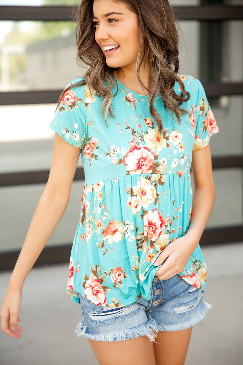Sweeten My Day Floral Top in Turquoise