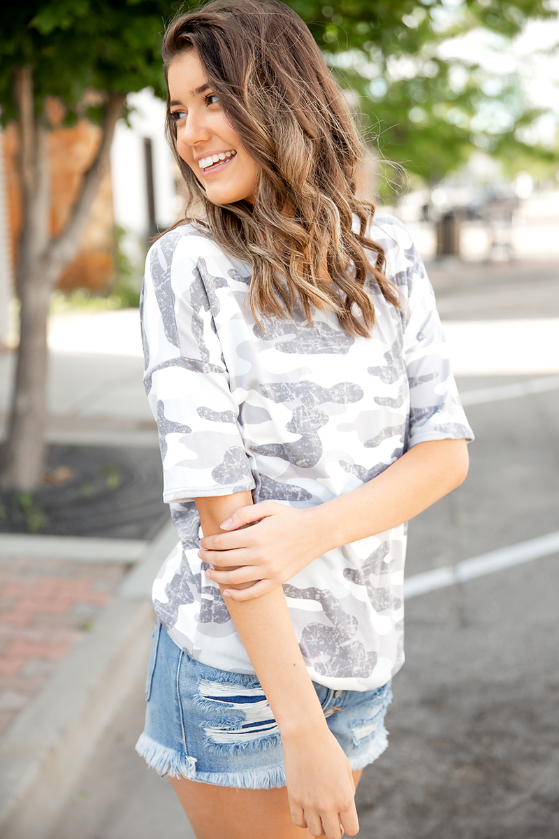 Major Confidence Top in Gray Camo