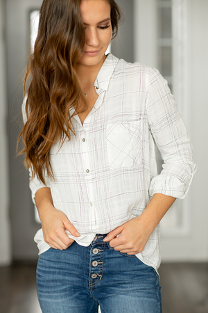 In Charge Plaid Top in White