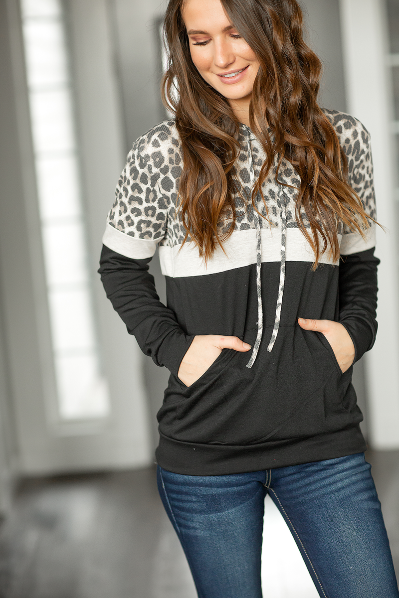 For The Win Animal Print Hoodie in Oatmeal and Black