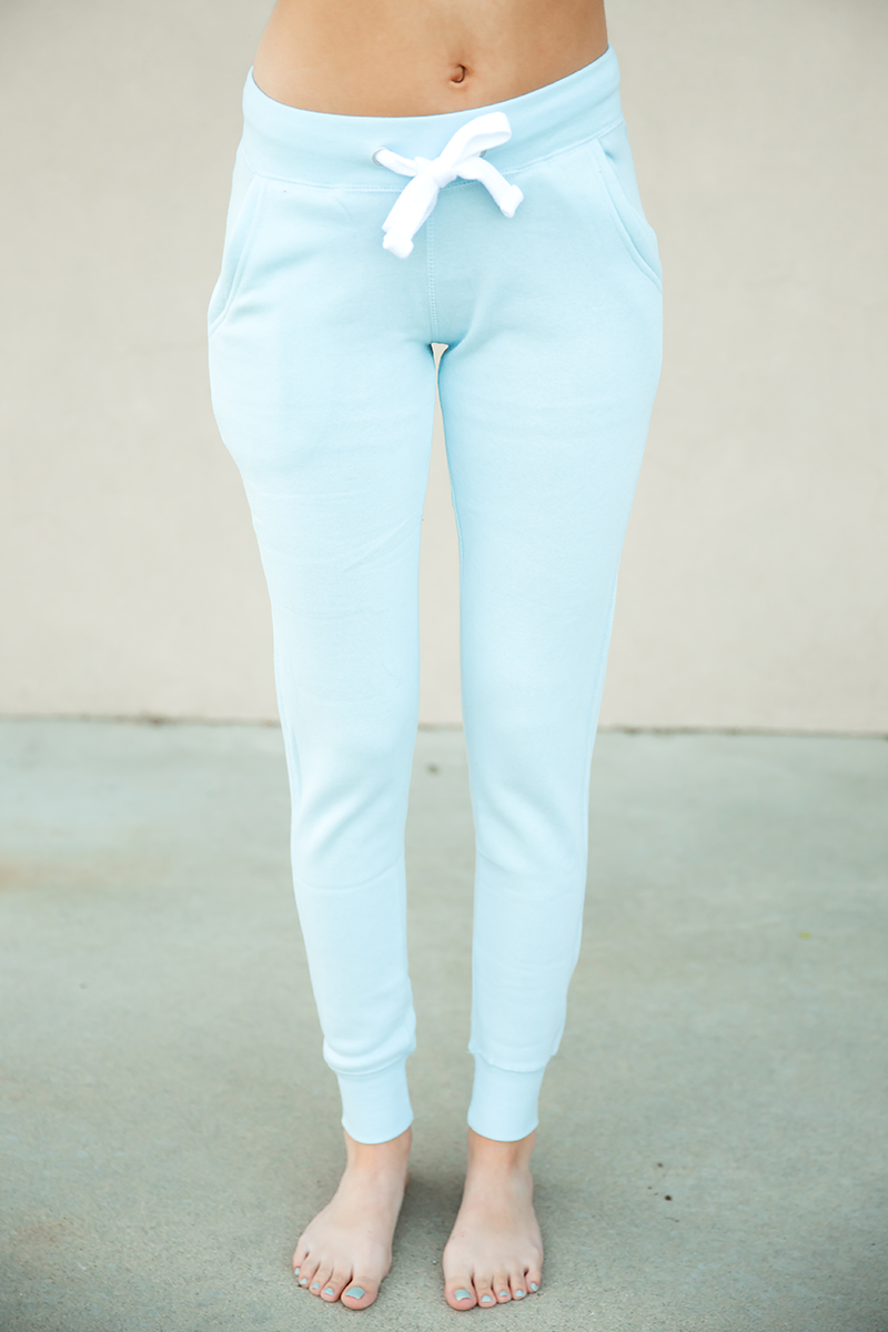 On The Go Joggers in Light Blue