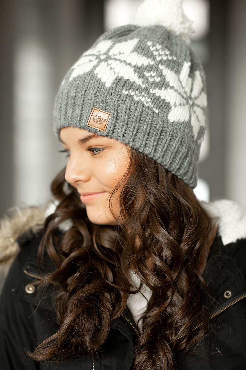 Knit Pom Beanie in Gray Snowflake