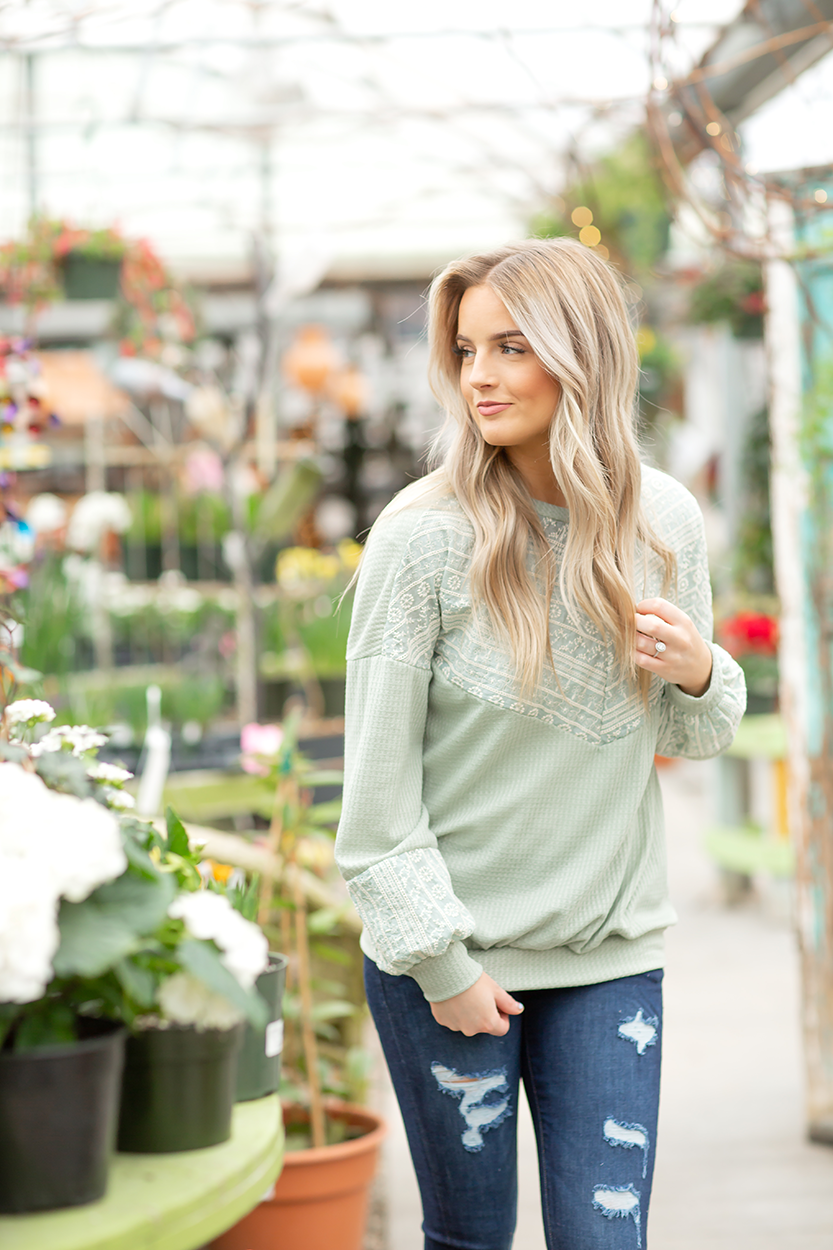 Come Away with Me Top with Lace in Sage