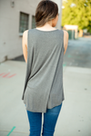 Livin' the Dream Grey Knit Tank with Buttons