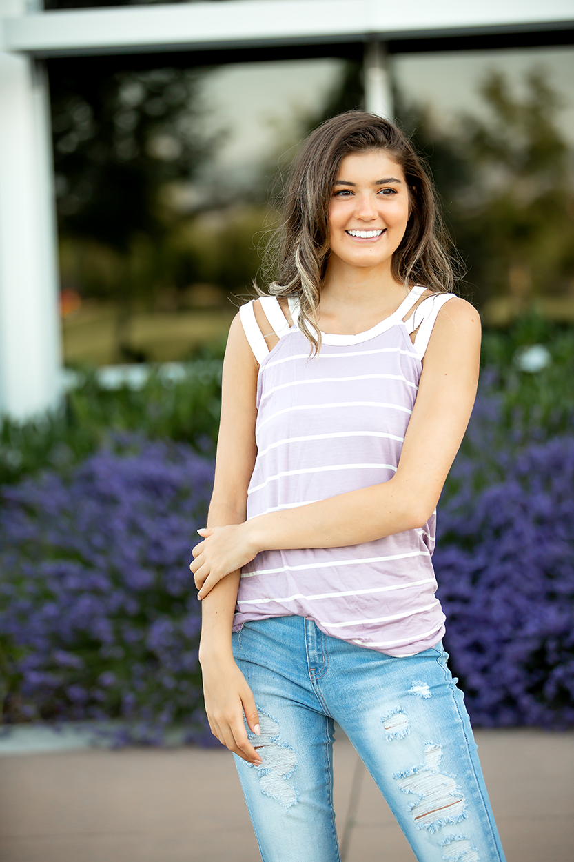 Dream On Lilac and Ivory Stripe Open Shoulder Tank (Sale)