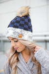 Knit Pom Beanie in Navy and Black Plaid