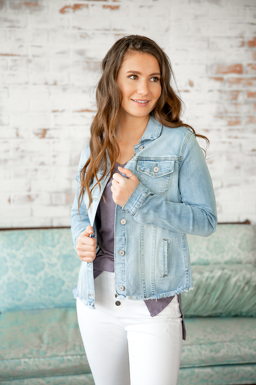 KanCan Make My Day Light Wash Denim Jacket