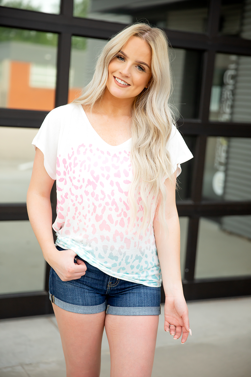 One Fabulous Day Ombre Animal Print Top