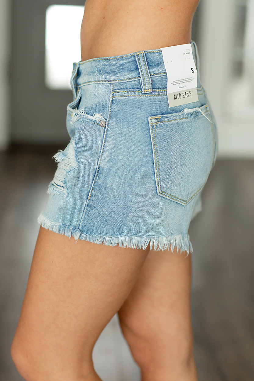 KanCan Lunch Date Frayed Distressed Shorts