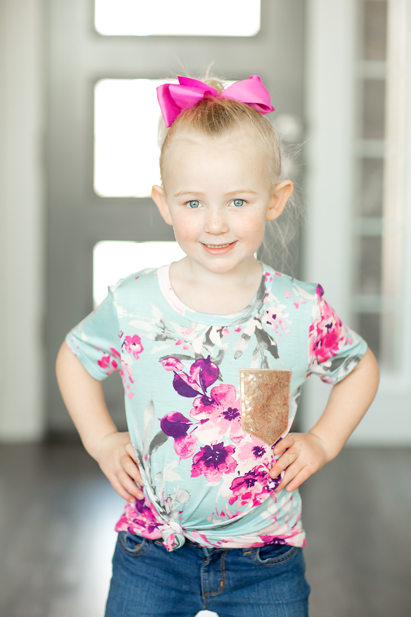 KIDS Thanks A Million Floral Top with Sparkle Pocket