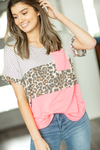 Sunshine Ready Top in Hot Pink, Animal Print, and Stripes