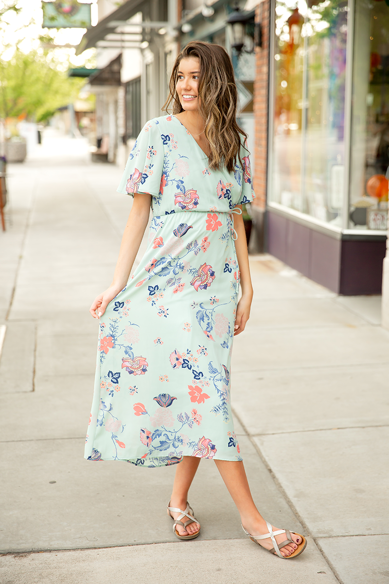 Sweet Paradise Floral Dress in Mint