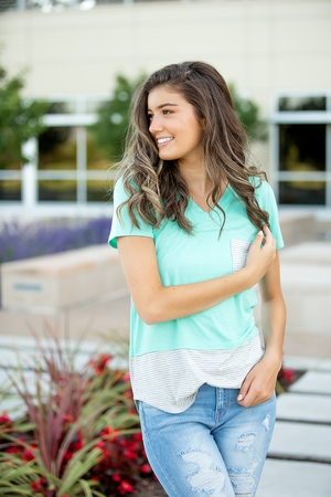 Love Affair Mint and Stripe Top