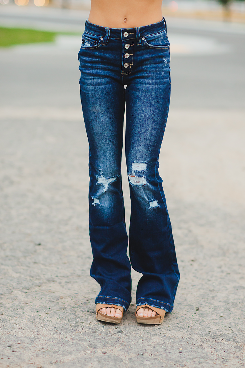 KanCan Better Than Ever Mid Rise Distressed Flare Denim Jeans