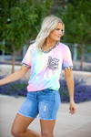 Free Ride Tie Dye and Animal Print Top