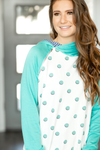 Love You More Polka Dot Double Hoodie in Turquoise