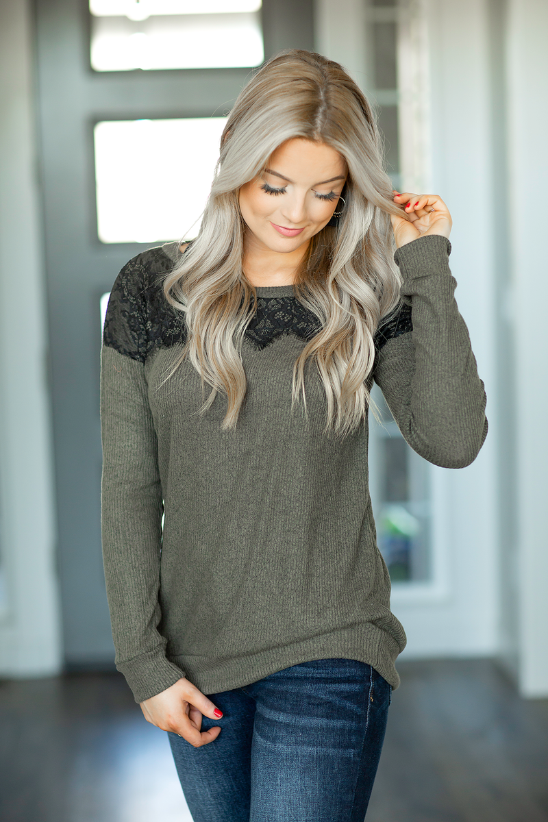 Lost in Thought Top in Olive with Lace