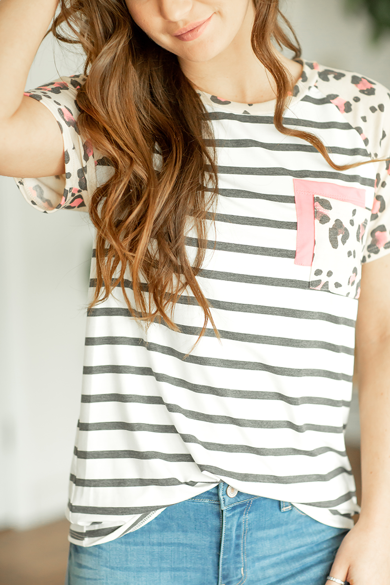 Short and Sweet Double Pocket Top in Pink, Animal Print and Stripes