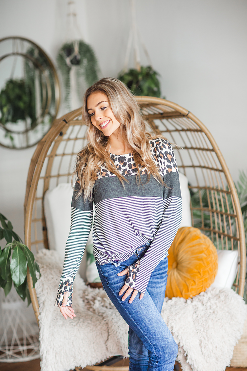 Time of Our Lives Striped Top with Animal Print