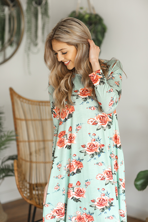 Feeling Thrilled Floral Dress in Mint