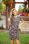 Gotta Have It Black Ruching Floral Dress