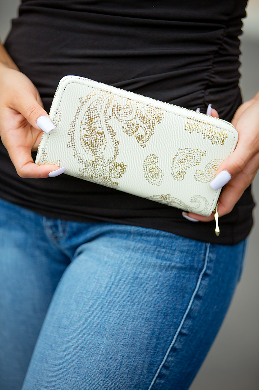 Ivory Paisley Wallet