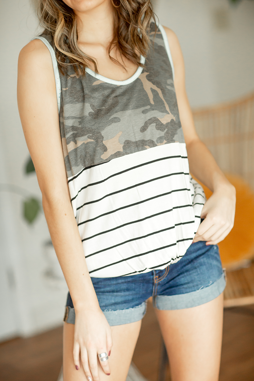 Enjoy It Twist Tank with Camo and Mint Details