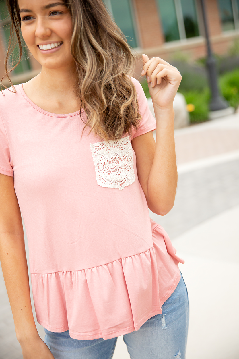 It's In The Details Lace Button Up Back Top in Blush