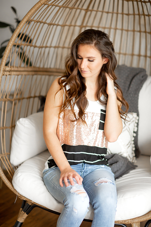 Comfort Zone Sequin Detailed Tank with Black Stripes
