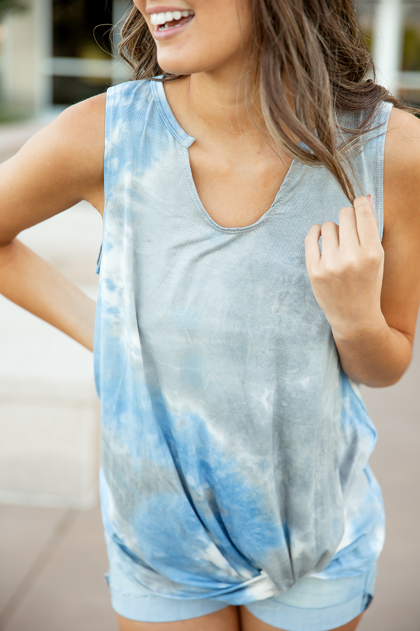 Kept Promises Tie Dye Tank in Gray and Blue (SALE)