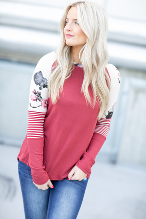 Sail Away Floral and Striped Sleeve Top