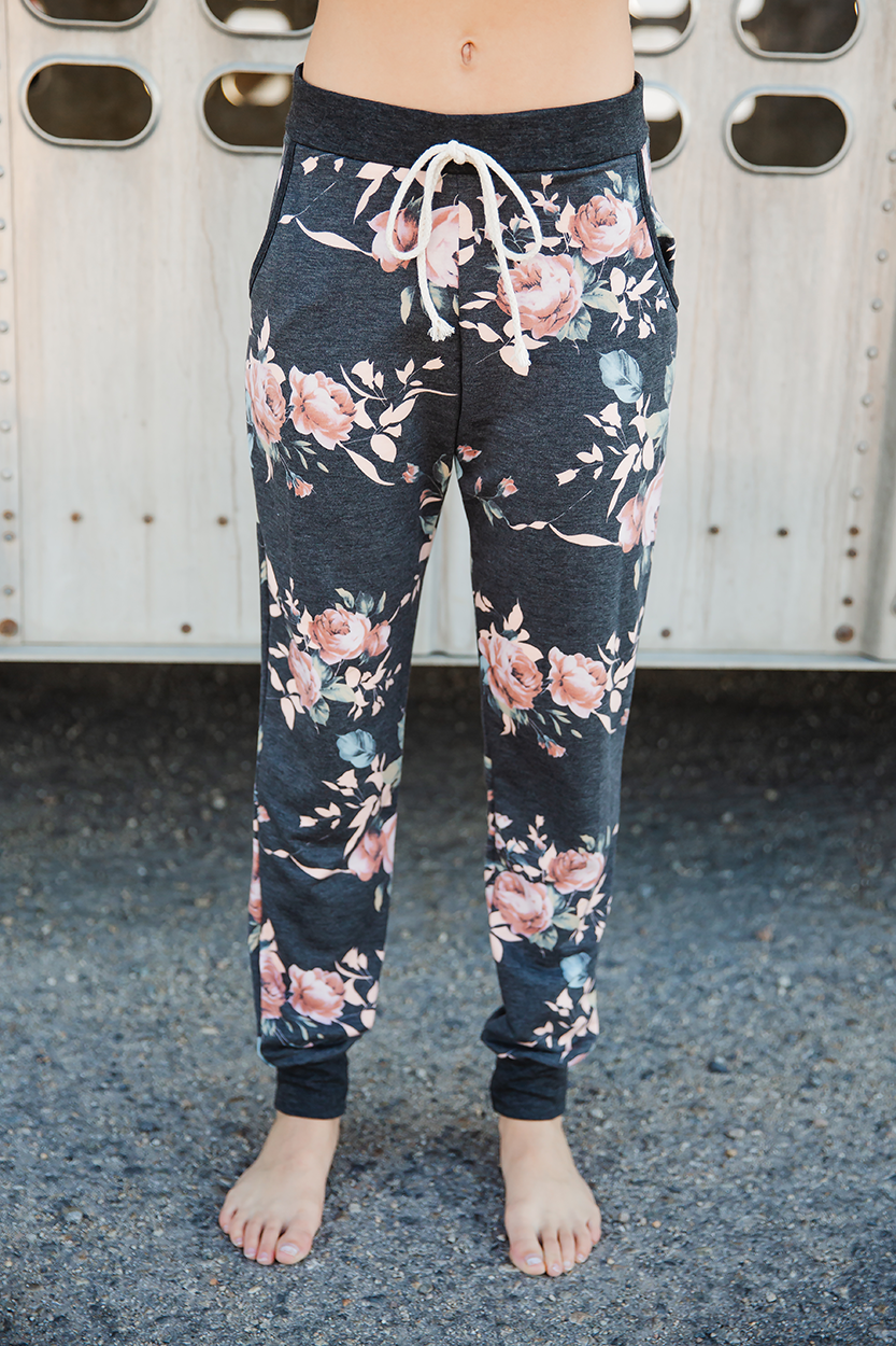 My Heart Floral Print Drawstring Joggers