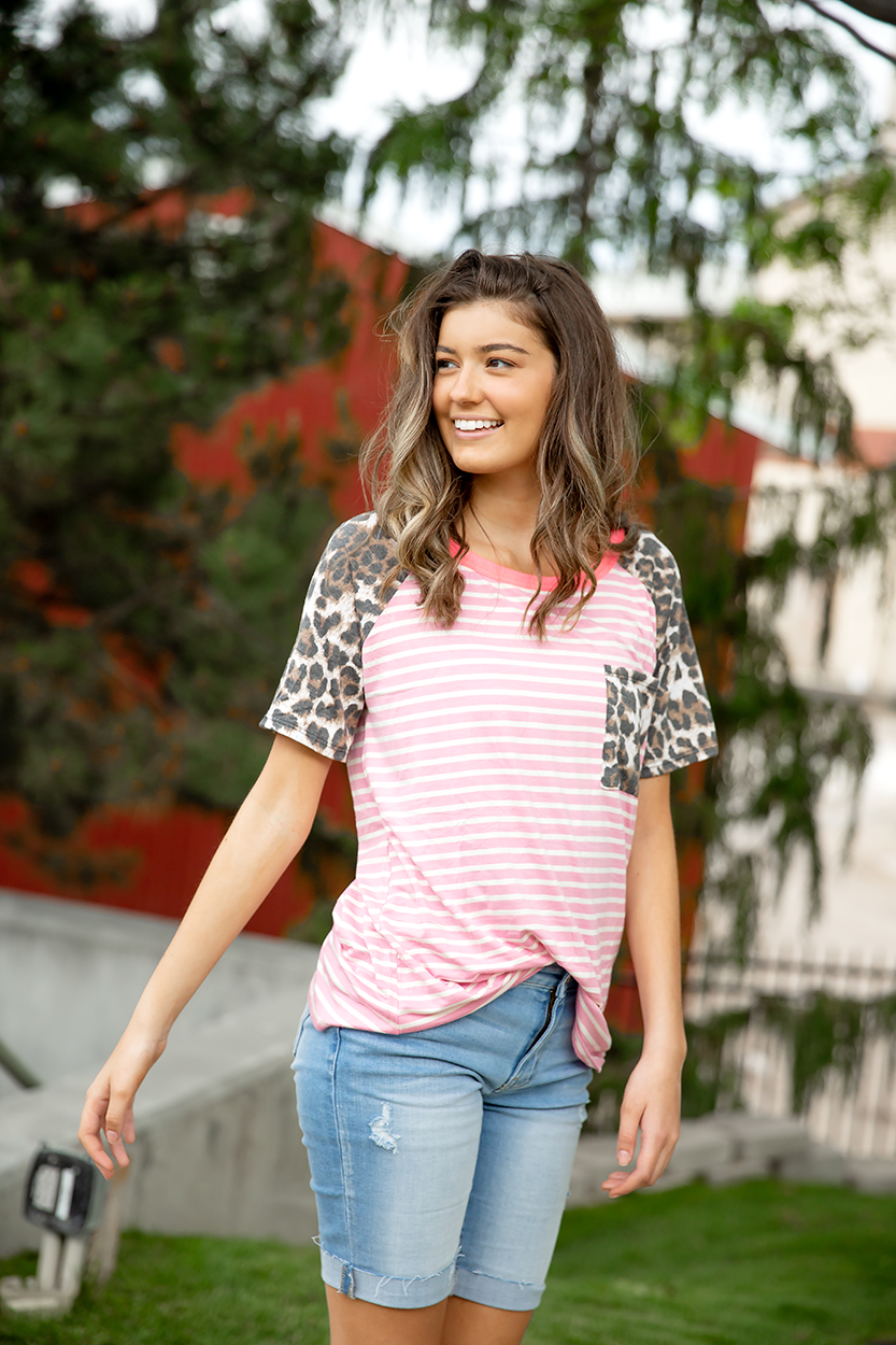 Just in Time Pink Stripe with Animal Print Sleeves Top