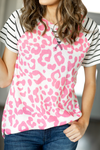 Long Summer Nights Top With Pink Animal Print and Stripes