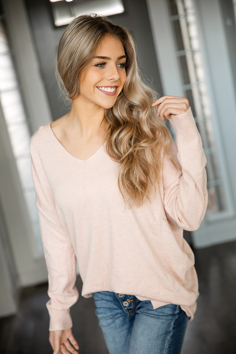 Perfectly Happy Pullover Sweater in Blush Pink