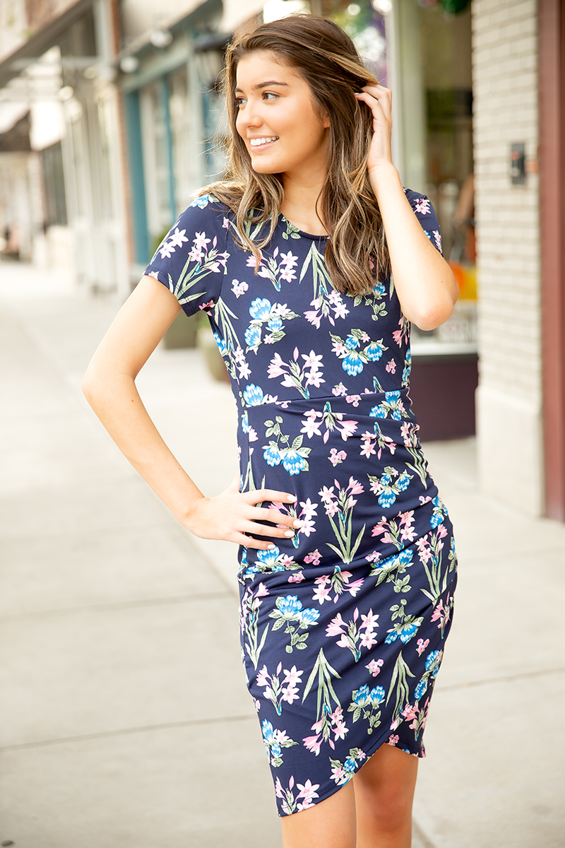 Evening Stroll Navy Floral Dress