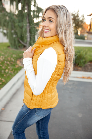 Long Time Love Puffer Vest in Mustard