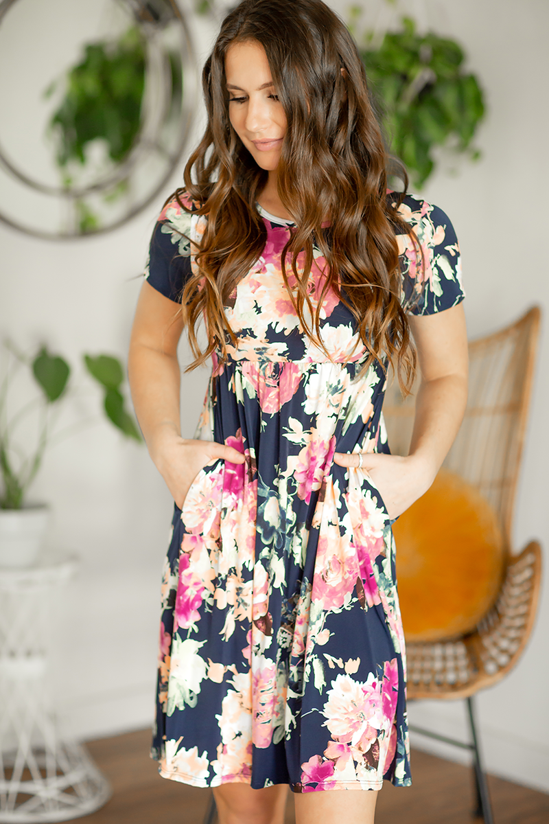 Join The Fun Floral Dress in Navy