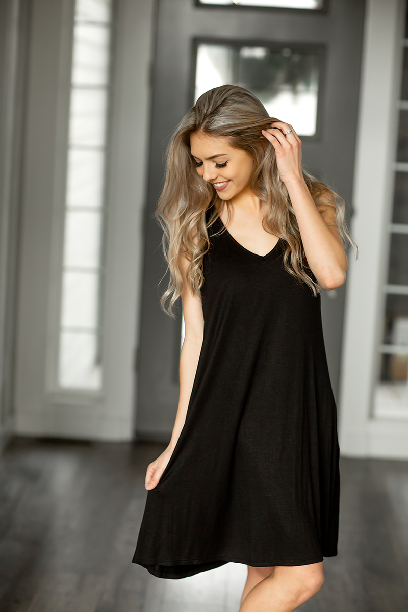 Found By Now T-Shirt Dress in Black