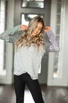 Hold Me Near Heather Gray Long Sleeve Top with Stripes and Animal Print