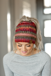 CC Knit Pony Tail Beanie in Mixed Rust, Pink and Purple