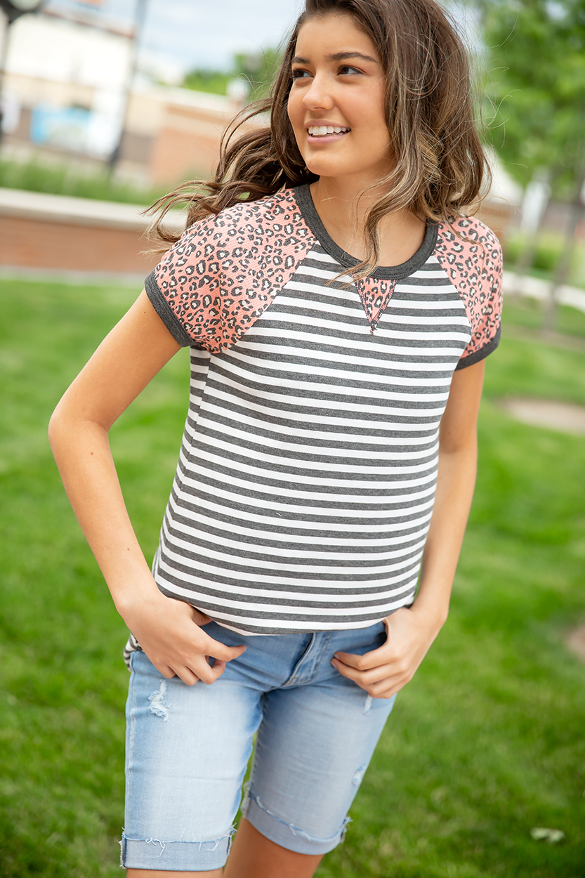What a Catch Grey Striped with Pink Animal Print Top