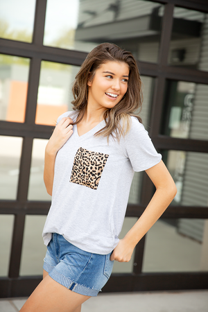 Enjoy It Top with Animal Print Pocket in Heather Gray