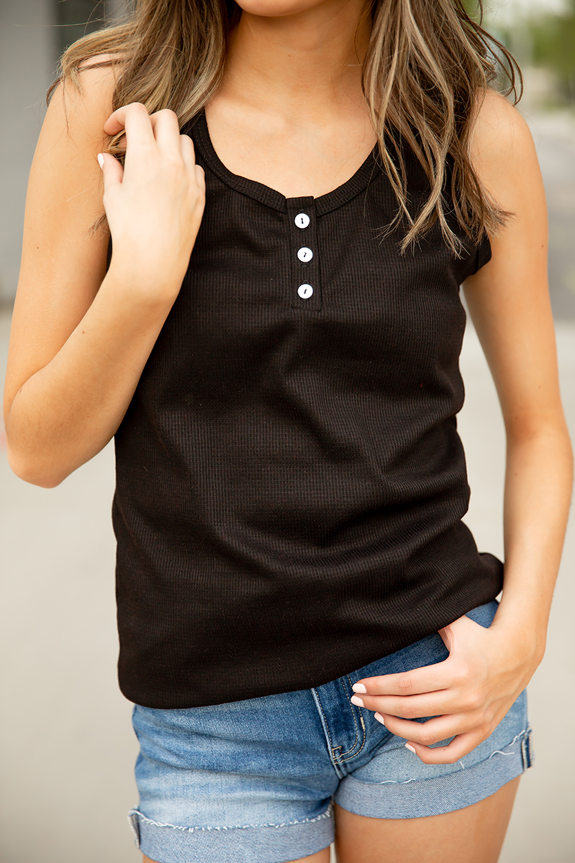 No Plain Jane Racer Back Tank in Black