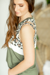 Out And About Animal Print Detailed Tank in Olive