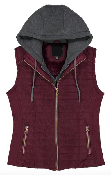 Beautiful Life Hooded Vest in Maroon (SALE)