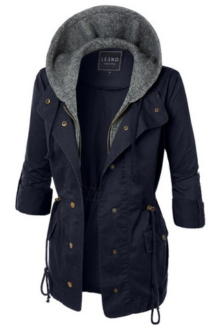 Take Charge Cargo Jacket With Hood in Navy