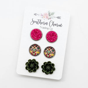 Fuchsia Shimmer/Mustard, Pink, Olive Floral/Olive Flower Studs in Stainless Steel Settings